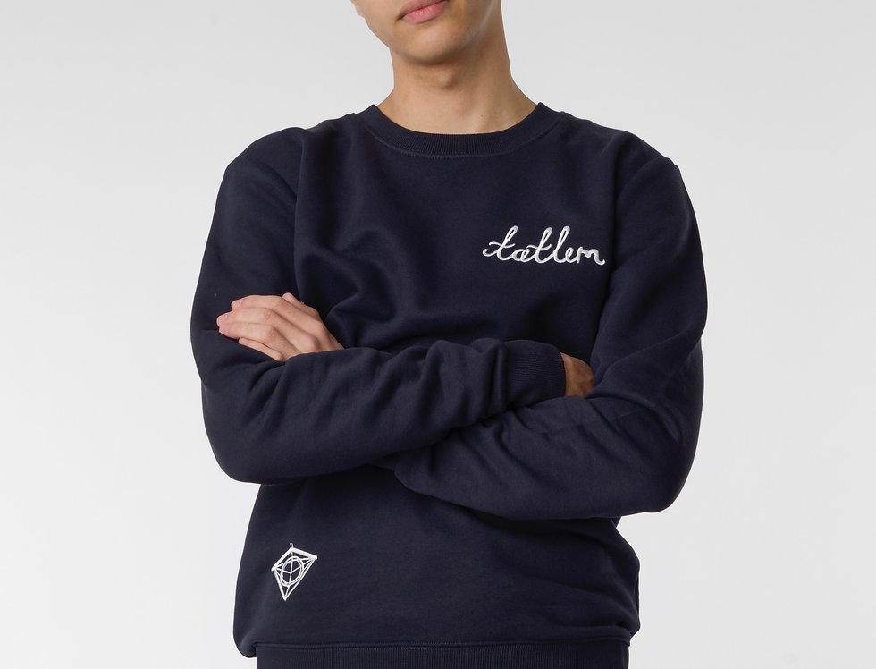 Navy & White Tatlim Diamond Sweatshirt