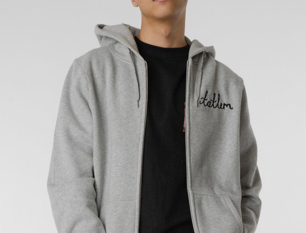 Grey & Black Zipped Hooded Sweatshirt