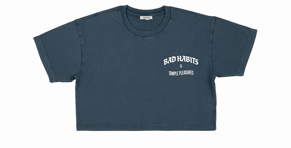 Women's Cropped Bad Habits & Simple Pleasures T Shirt