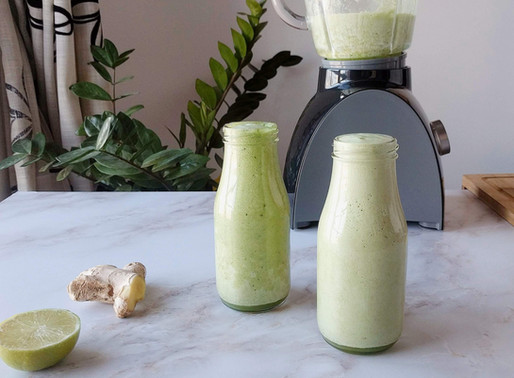 Smoothie verde con jengibre y lima