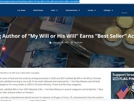 Christian News Journal features Author Stefanie Austin's My Will or His Will: Who Is Your GPS?