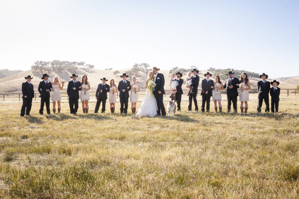 cowboy ranch wedding party