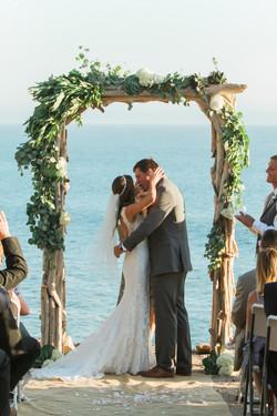 First kiss wedding portrait