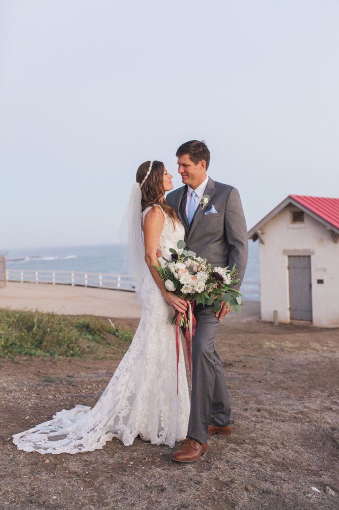 sea side wedding portrait