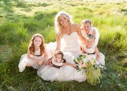 ranch bride with flowergirls