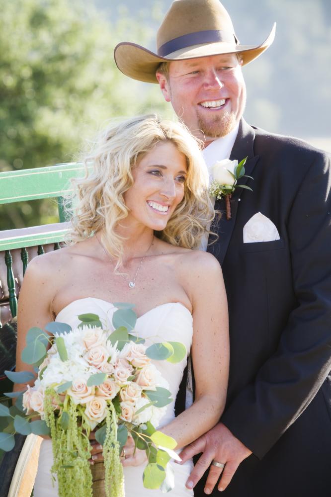 cowboy wedding couple