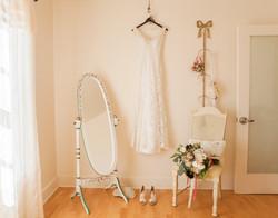 detail bridal dress white