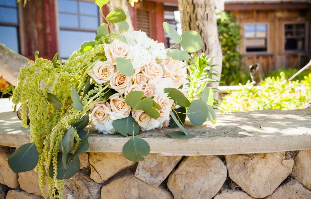 pink rose green bridal bouquet