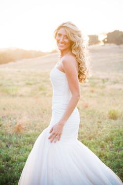 long bride hair sunset portrait