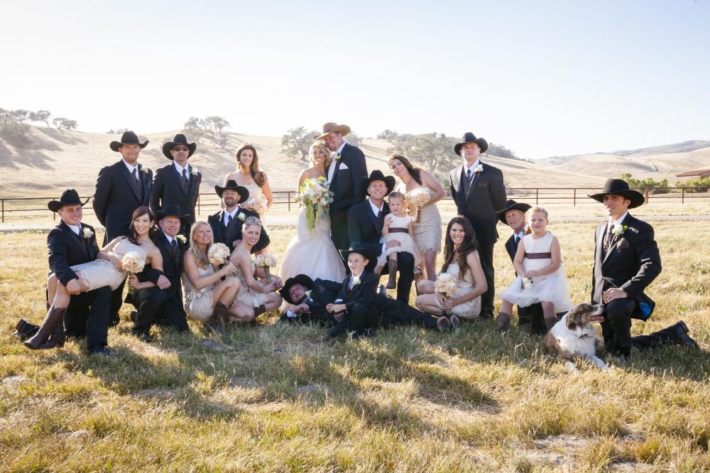 large group cowboy bridal party