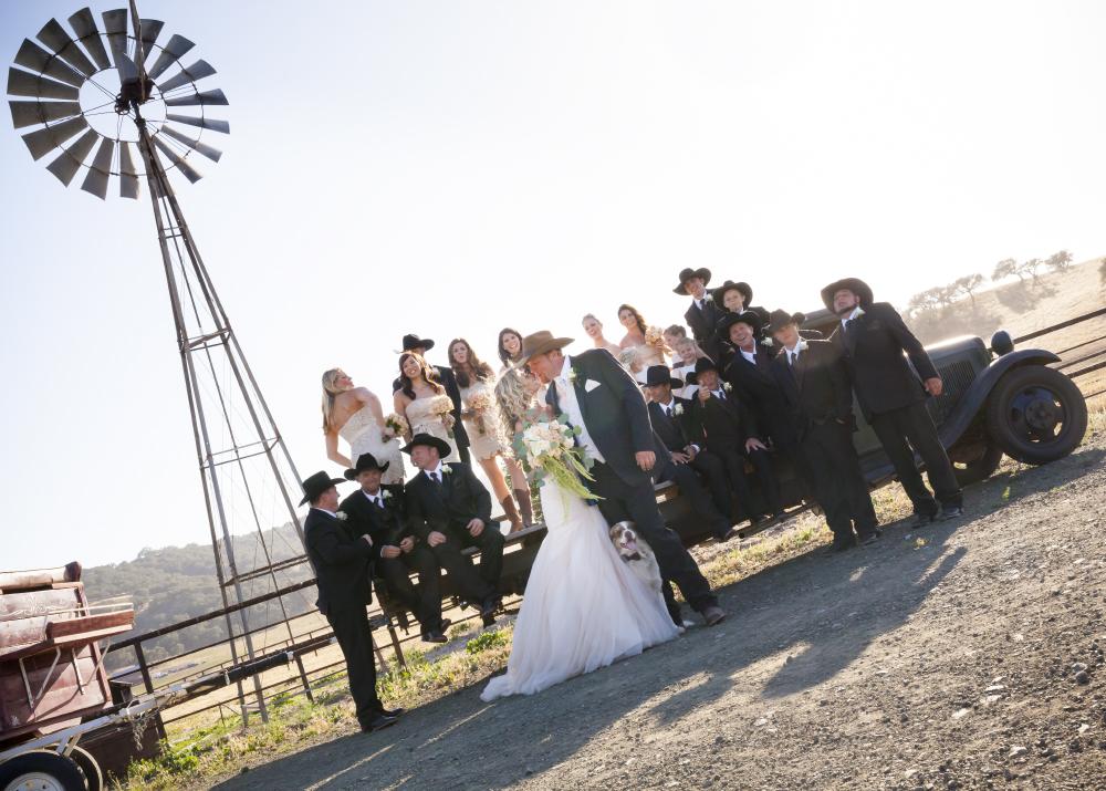 ranch wedding party portrait