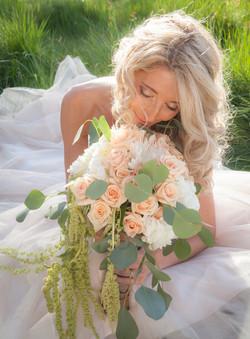 pink white greens bridal bouquet