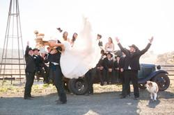 fun cowboy bridal party portrait