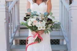 Green, blush, green bridal bouquet
