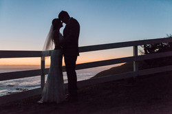 wedding couple silhouette sunset