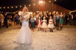 barn bouquet toss fur coat