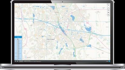 Laptop with software screenshot (Flood V