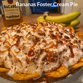 Banana Rum Pie with a Flambéed Merengue Topping