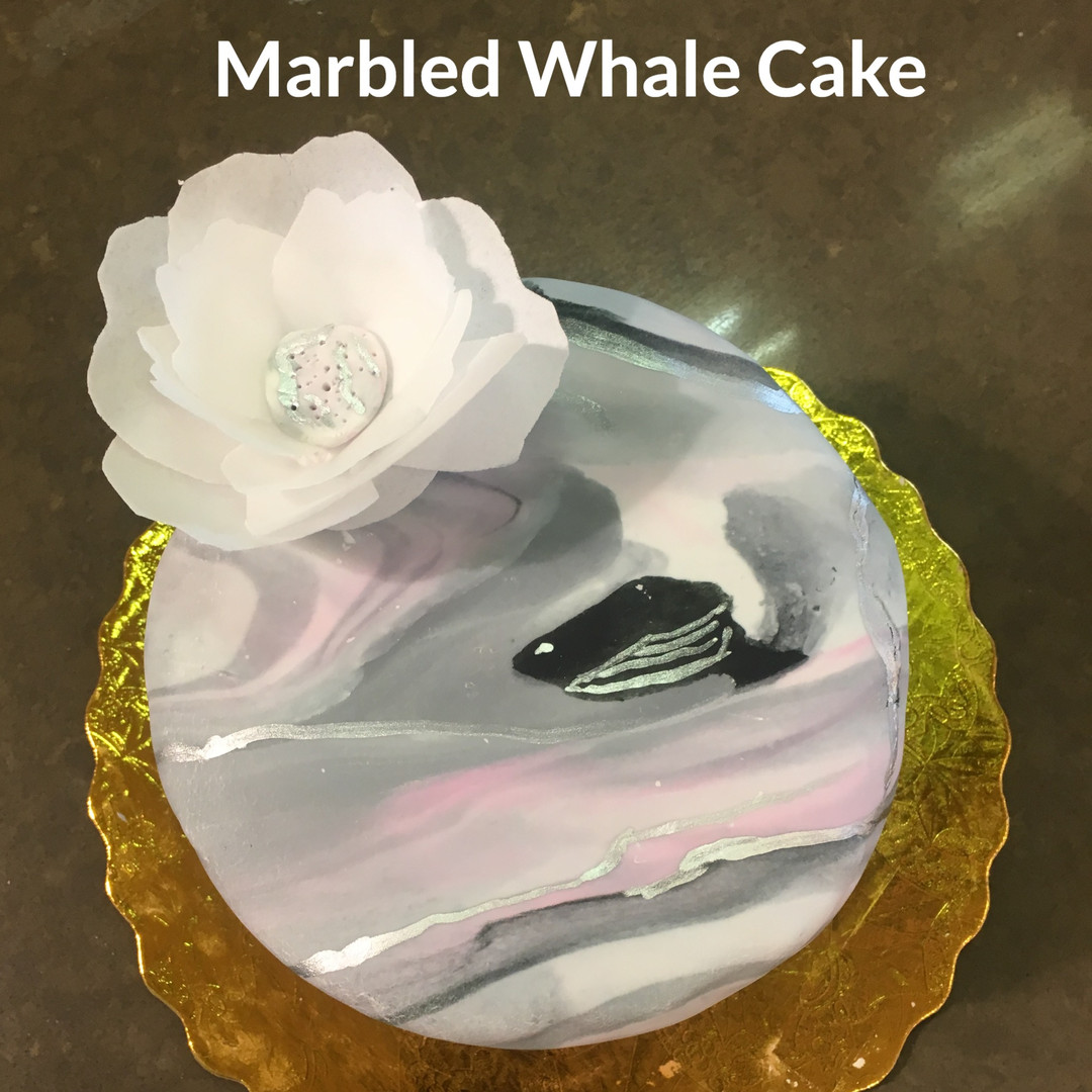 Vanilla Layer Cake with Edible Paper Flower, Marbled Frosting & Lucky Whale feature 🐋
