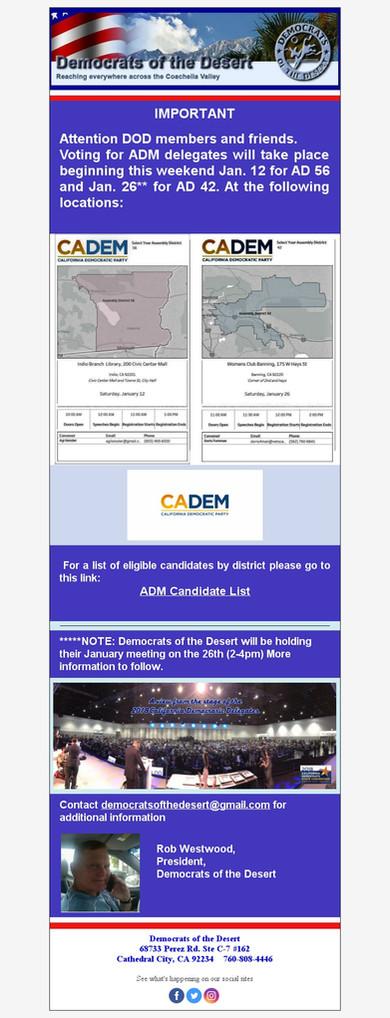 CADEM Delegate Voting Dates & Locations