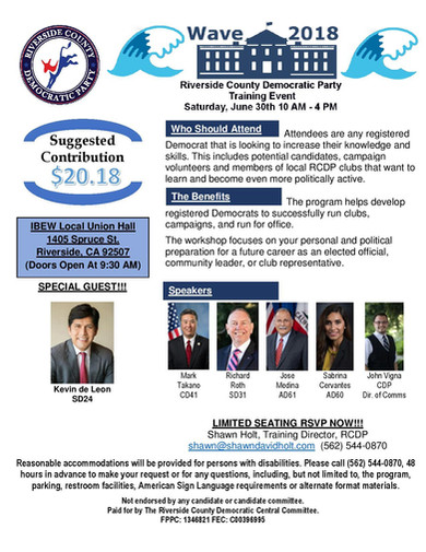 Riverside County Democratic Party - Training Event, Saturday, June 30, 10 am