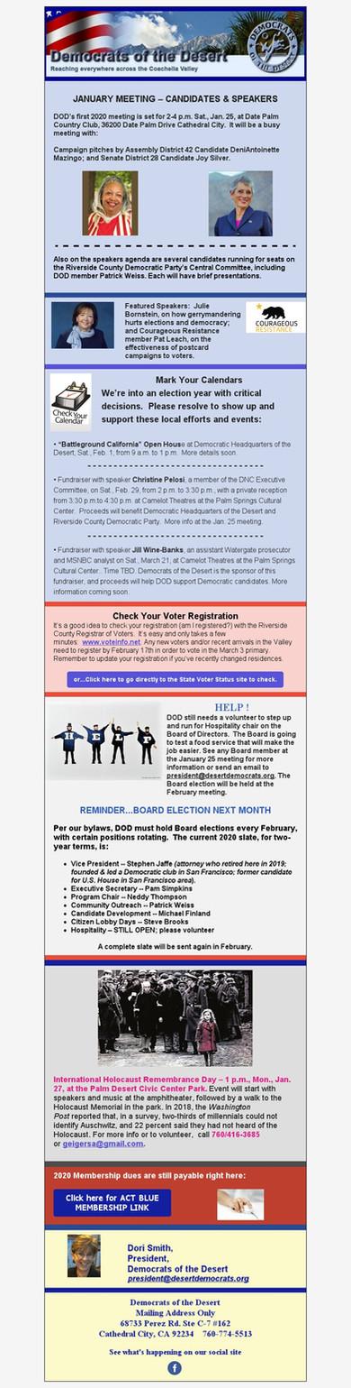 January 25th Membership Meeting Update