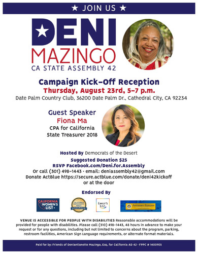 Join us for Deni's Campaign Kick-Off Reception!