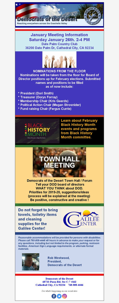 January Meeting Information