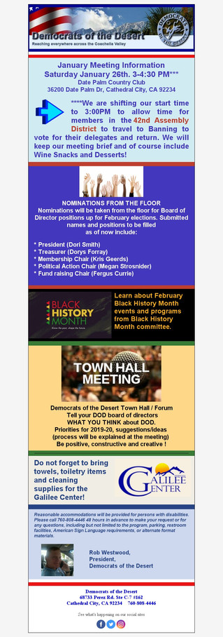 January Meeting UPDATE & TIME CHANGE!