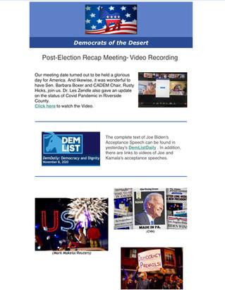 Video Recording | Nov. 7th OnZoom Meeting | guests: Barbara Boxer and Rusty Hicks