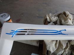 Sills masked to paint stripes black