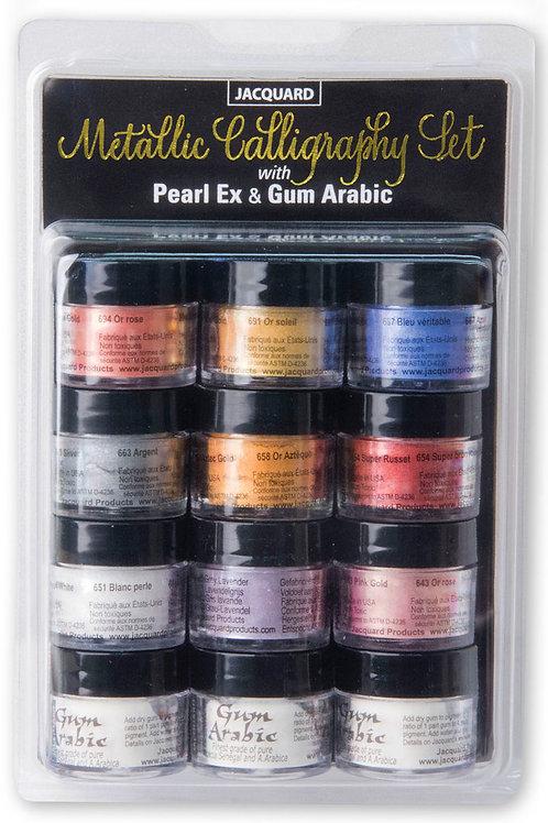 Jacquard Pearl-Ex Pigment - Metallic Calligraphy Set w/Gum Arabic