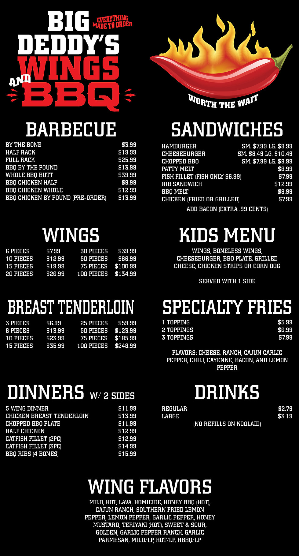 Web Menu for Big Deddy's Updated 2021-01