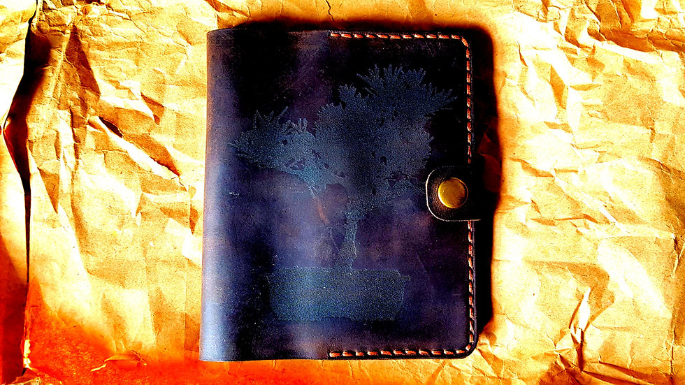 Leather case laser branded inverted Bonsai