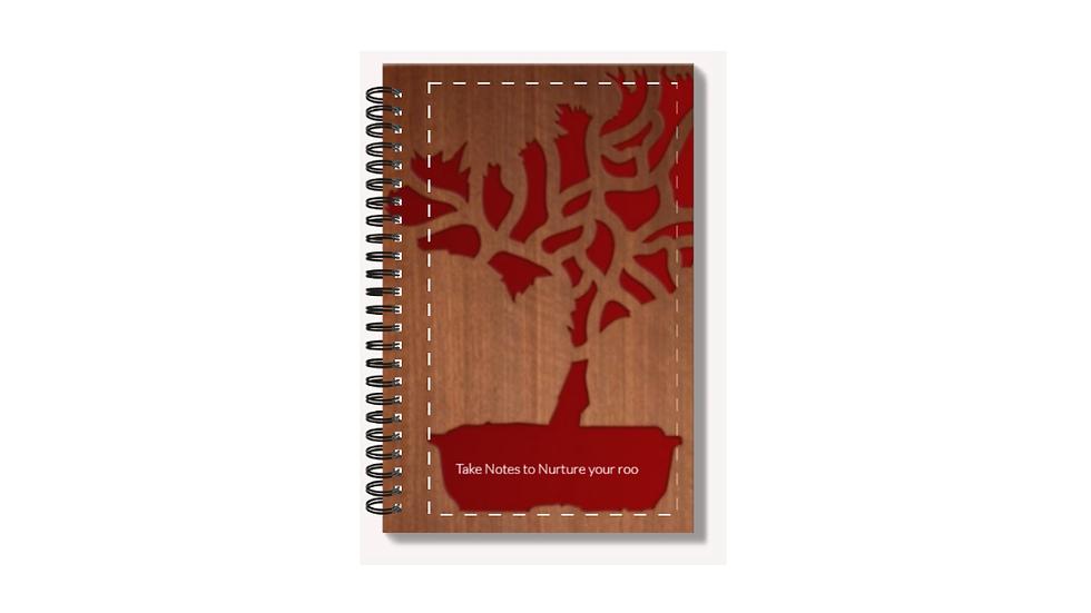 High Gloss A6 Notepad with bonsai lazer-wood logo