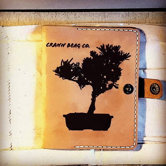Leather case laser branded inverted Bonsai