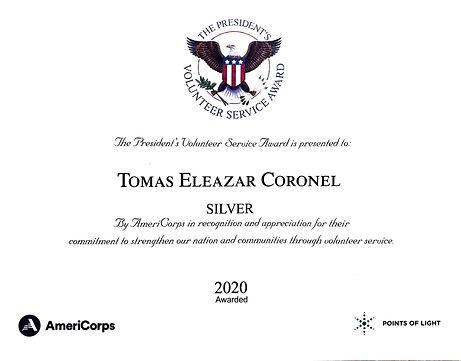 Tomas Eleazar Coronel President's Volunteer Service Award