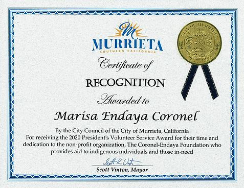 Coronel-Endaya Foundation Marisa Endaya Coronel City Council of Murrieta Certificate of Recognition