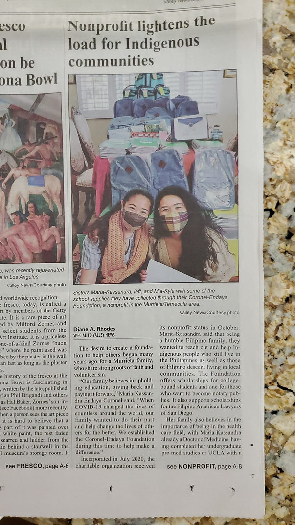 Coronel-Endaya Foundation Valley News Front Page Feature