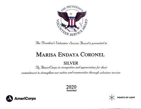 Marisa Endaya Coronel President's Volunteer Service Award