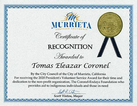 Coronel-Endaya Foundation Tomas Eleazar Coronel City Council of Murrieta Certificate of Recognition