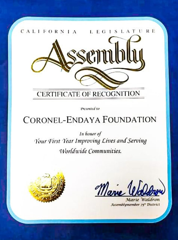 Coronel-Endaya Foundation California Legislature Assembly Certificate of Recognition - One year anniversary [Assemblymember 75th District Marie Waldron]