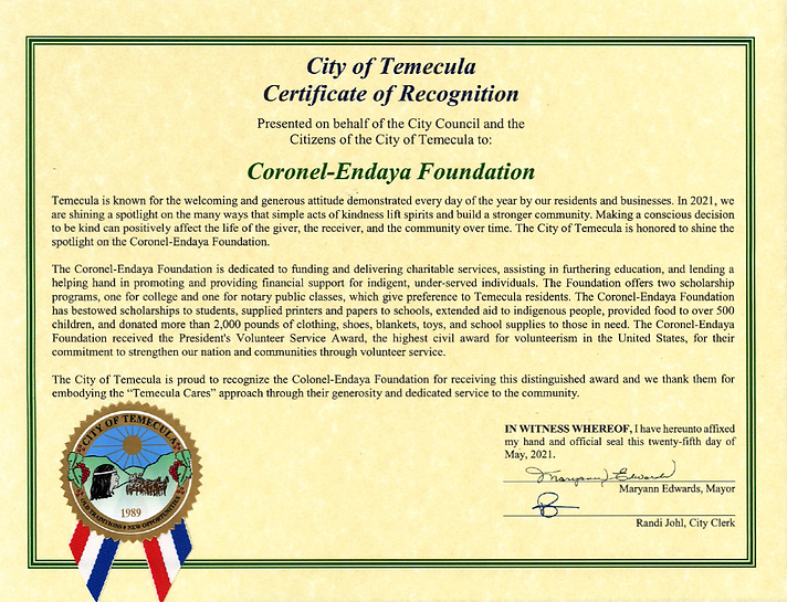 Coronel-Endaya Foundation City Council of Temecula Certificate of Recognition