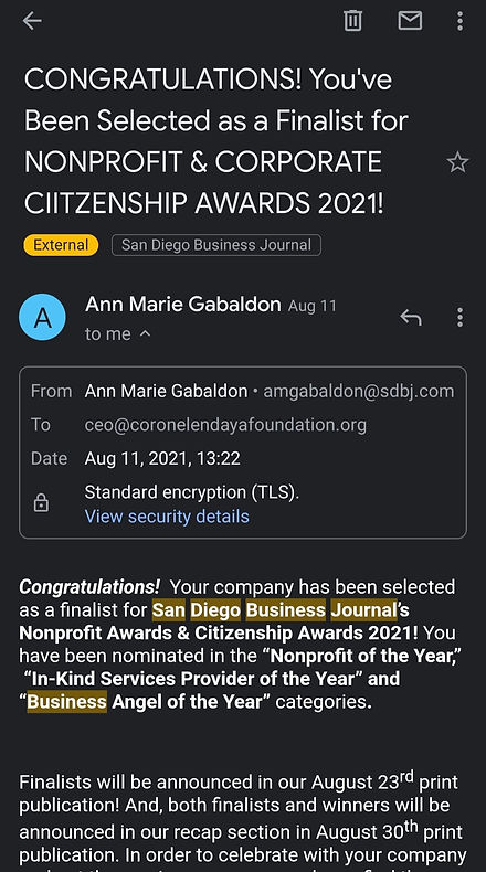 Coronel-Endaya Foundation San Diego Business Journal Nonprofit Awards & Citizenship Awards