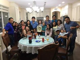Mrs. Cita Tan Juan Castillo  with Rose, Lee, Joanna, Mark,  Helena & Family, Ann and Jay Estero & Family,  Carmeli & Family, and Mary & Family