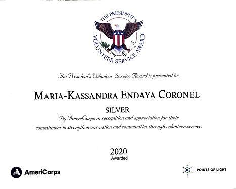 Maria-Kassandra Endaya Coronel President's Volunteer Service Award