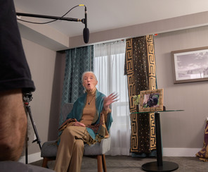 Jane Goodall on the set