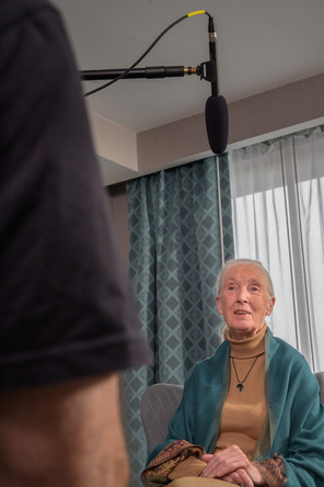 Jane Goodall during the interview for Pant Hoot