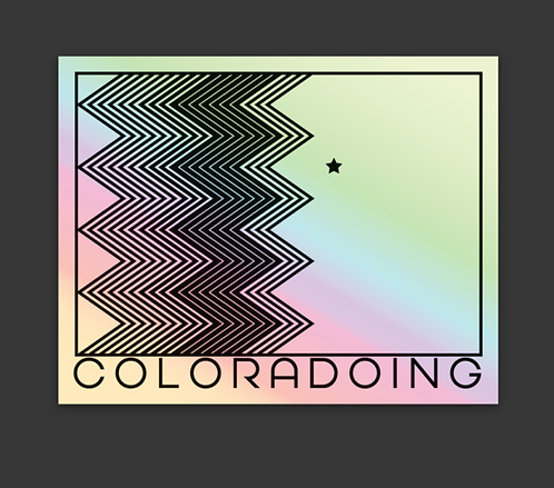 """Coloradoing State Holographic Sticker 2.6"""" x 3"""""""
