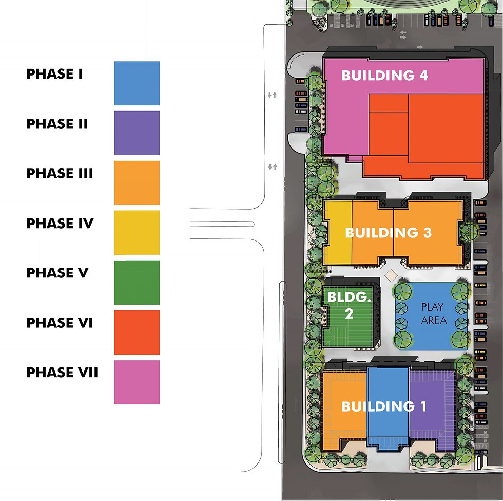 Schematic showing phases of buildout of private school in Las Vegas NV